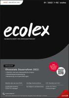 ecolex - Fachzeitschrift für Wirtschaftsrecht Erscheint monatlich, Preis: jährl. inkl. Versand Inland